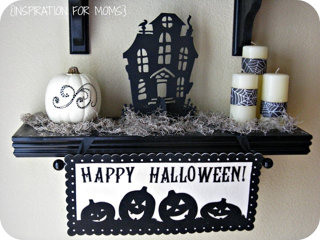 Take a break from the orange this year and create some Halloween Black and White Shelves in your home. It's a classic looks that's sure to spook.
