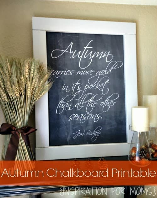 Make this simple Autumn Chalkboard printable for your fall home decor!