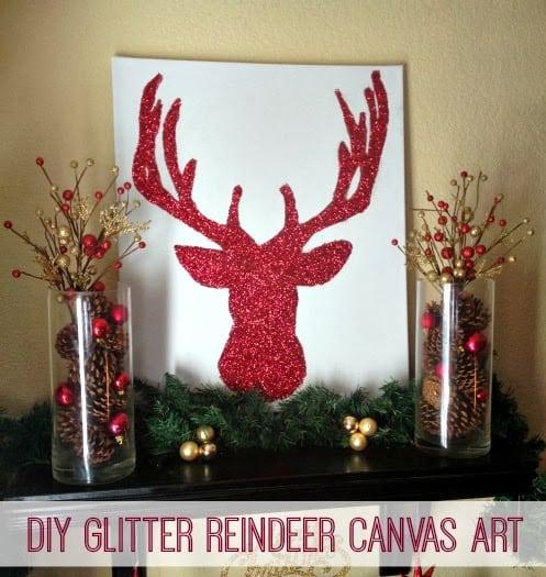 Holiday Home Tour 2013 + {DIY} Glitter Reindeer