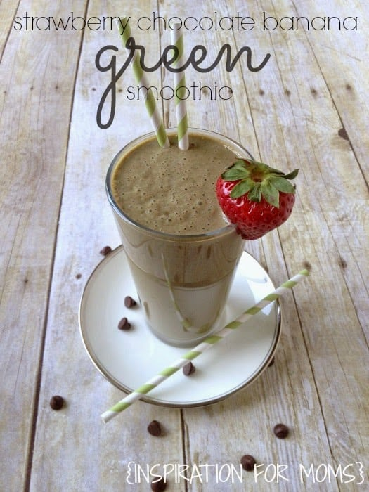 Strawberry Chocolate Banana Green Smoothie