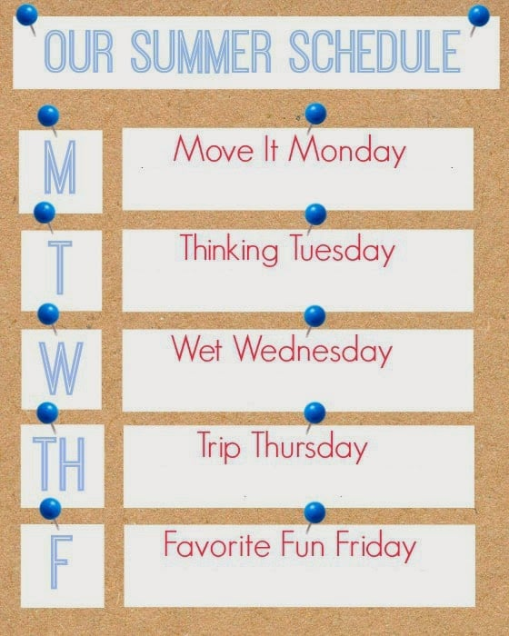 Organize your Summer activities with this Summer Schedule Printable!
