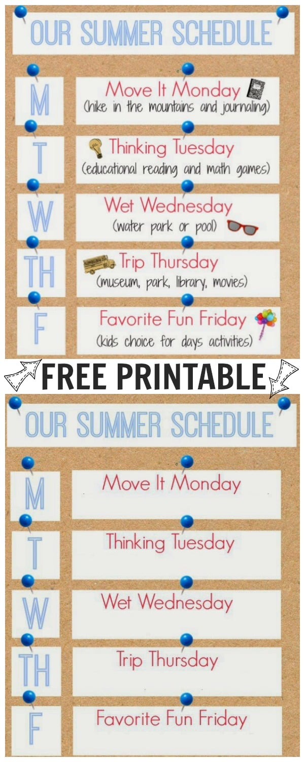 Our Summer Schedule Printable