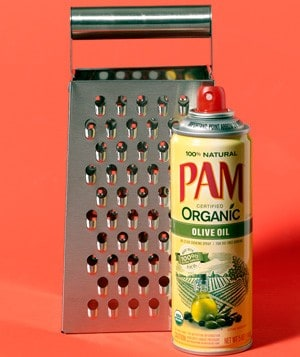 cooking spray helps you grate cheese