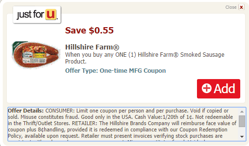 Hillshare Farm Turkey Smoked Sausage Coupon