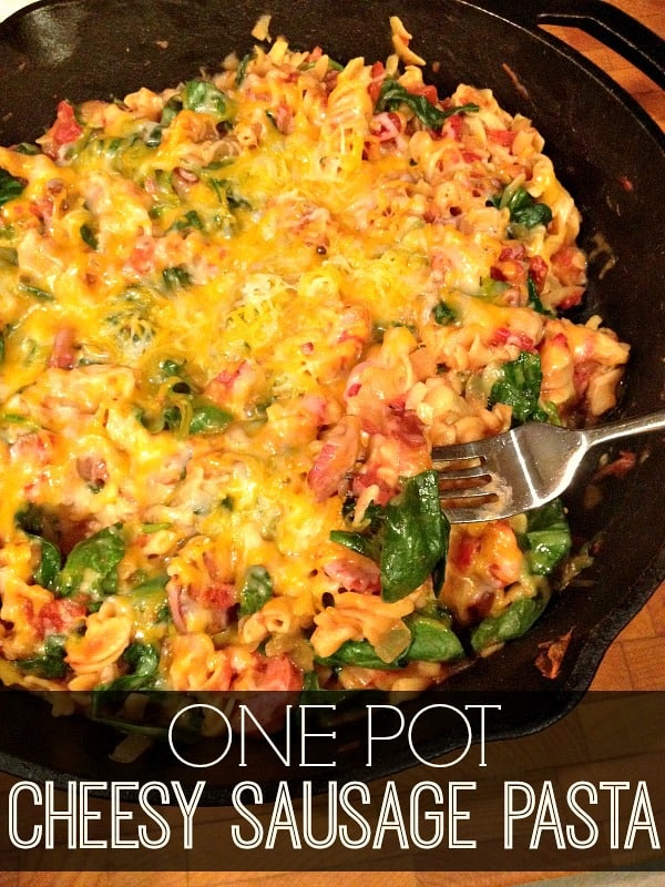 One Pot Cheesy Sausage and Spinach Pasta