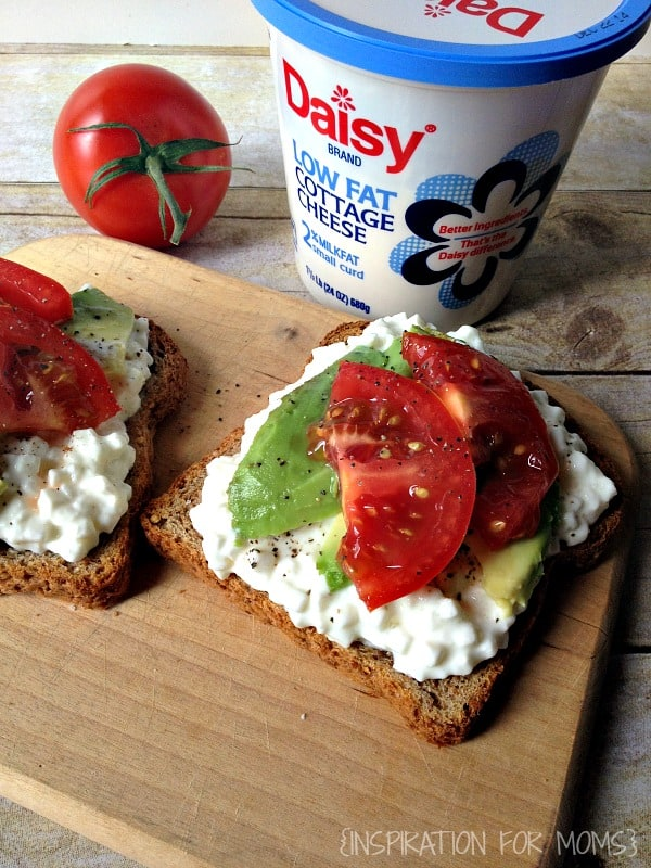 Cottage Cheese on Toast with Avocado and Tomatoes