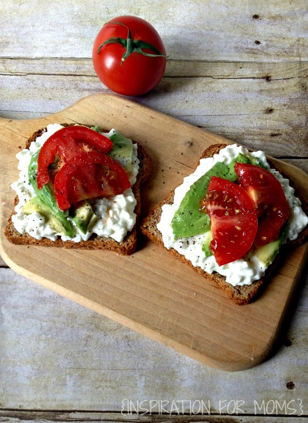 Cottage Cheese on Toast with Avocado and Tomatoes-close up