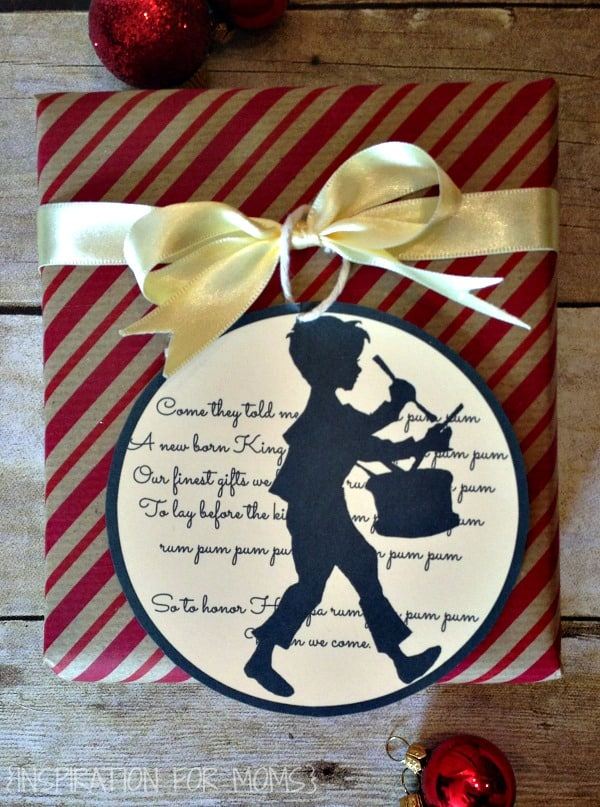 Little Drummer Boy Printable Gift Tag - close up