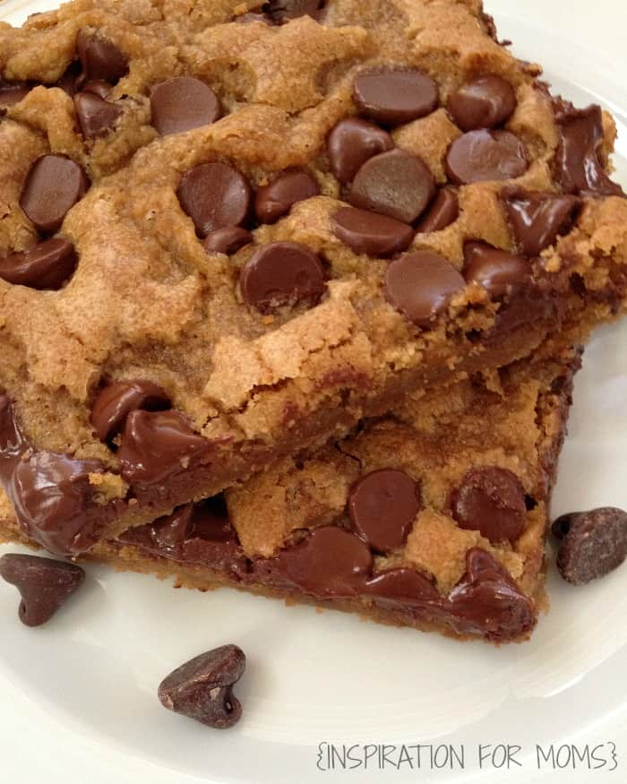Chewy Chocolate Cookie Bars close up