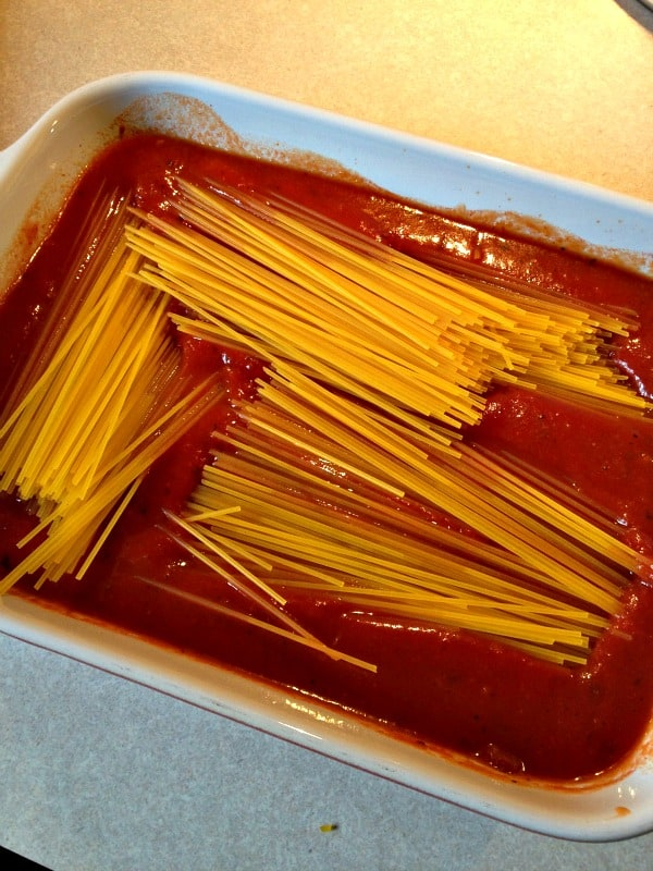 baked spaghett - add noodles to Ragu
