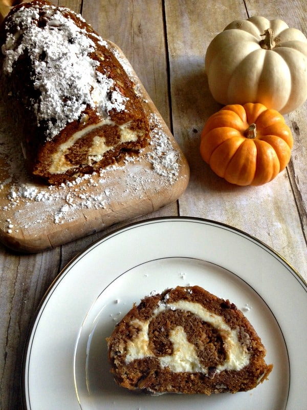 Pecan Pumpkin Roll slice