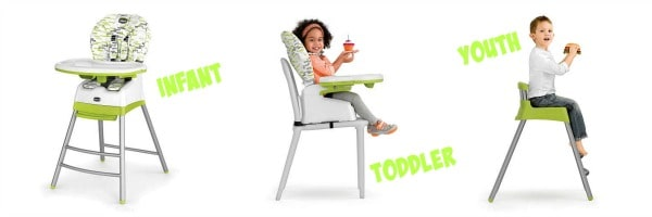 three stages of stack chicco highchair
