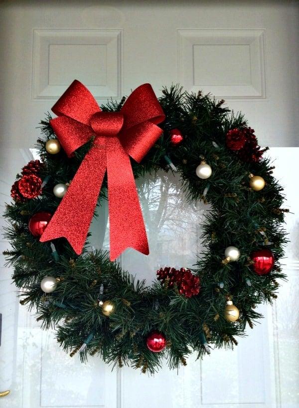 easy christmas front door decor wreath