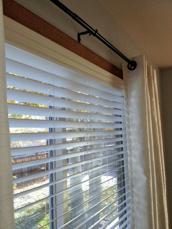 faux wood blinds close up