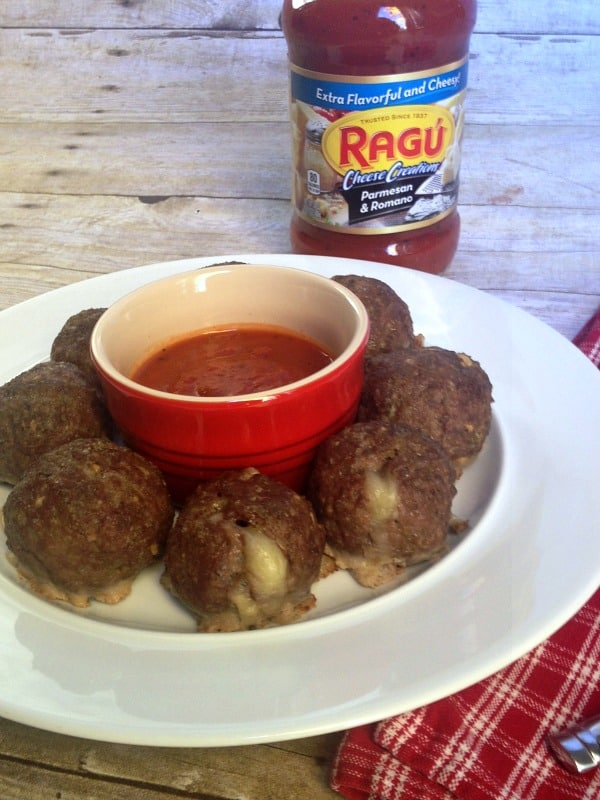 mozzarella stuffed meatballs with ragu