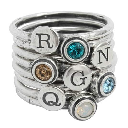 stackable-initial-and-birthstone-ring-four-grandchildren_4
