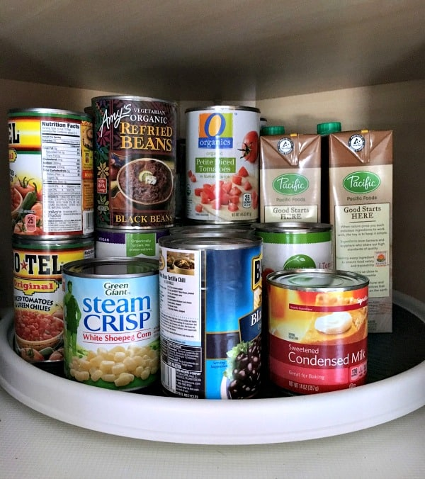 Organize Canned Goods with Lazy Susan