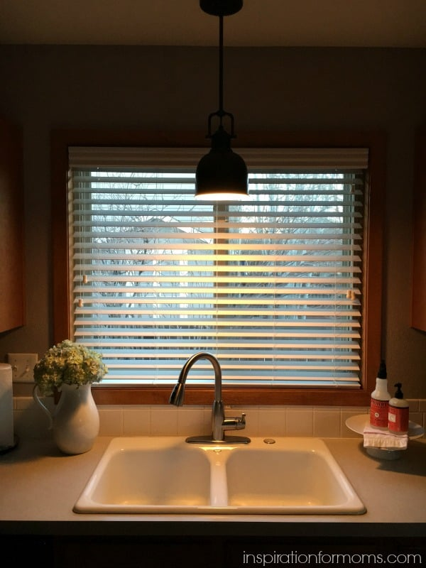 Parker Pendant light over sink at night