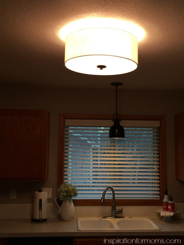 bronze off-white ceiling light at night