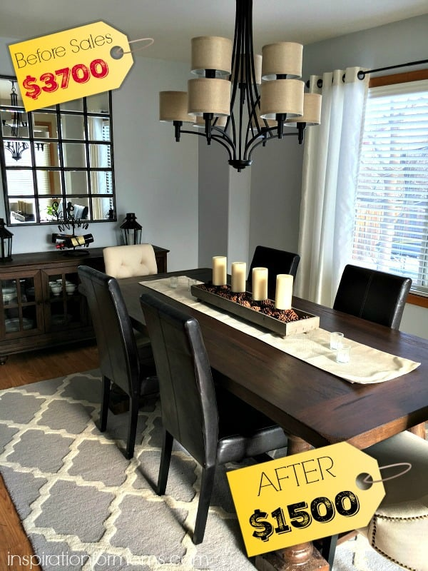 Dining room before and after reveal at a bargain price!