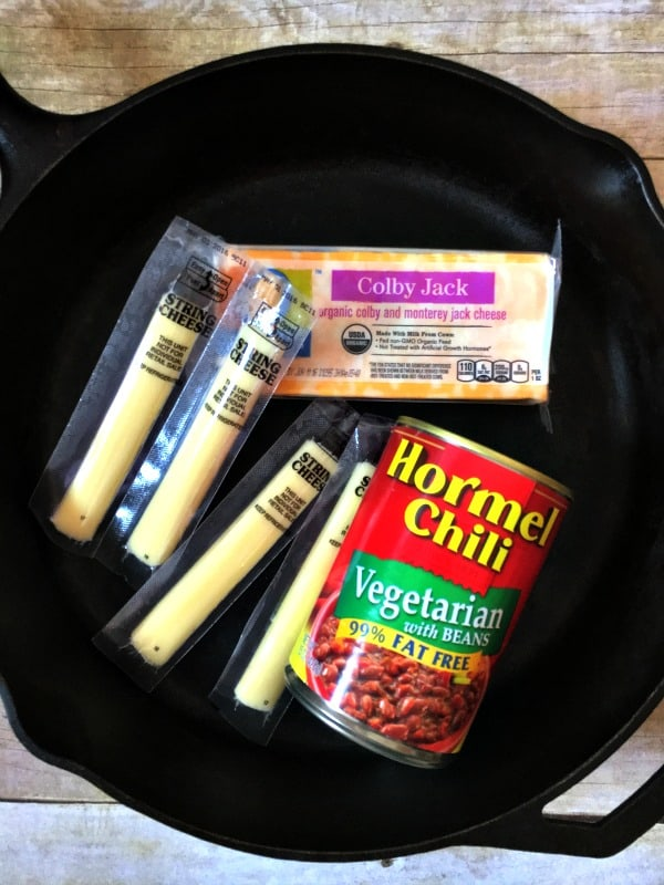 ingredients for chili cheese skillet dip