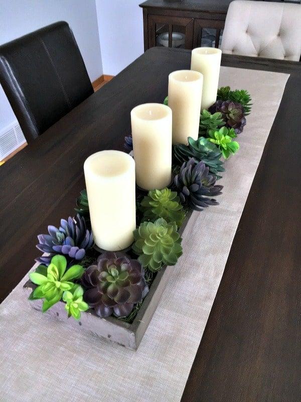 spring succulent garden idea -planter with candles