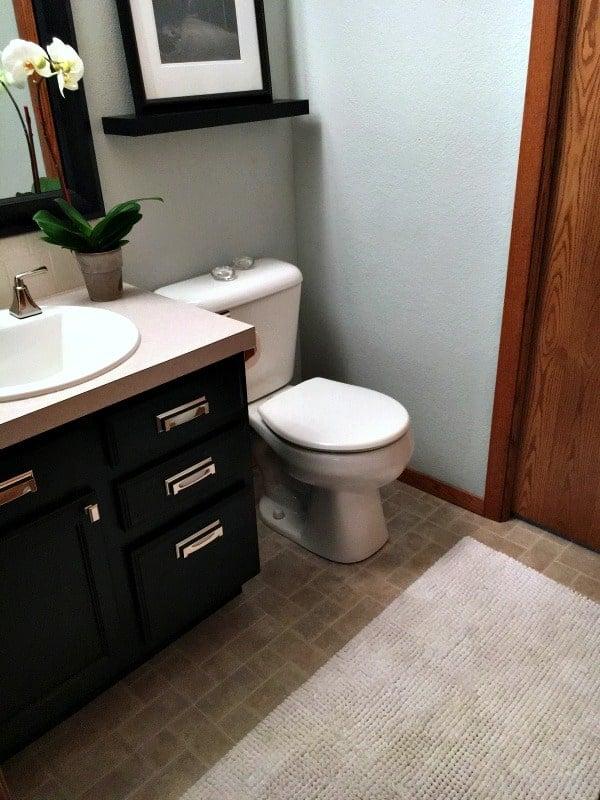 Half bathroom gets a new design - view of rug