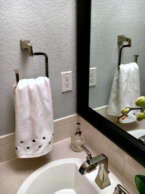 New towel holder for half bathroom remodel