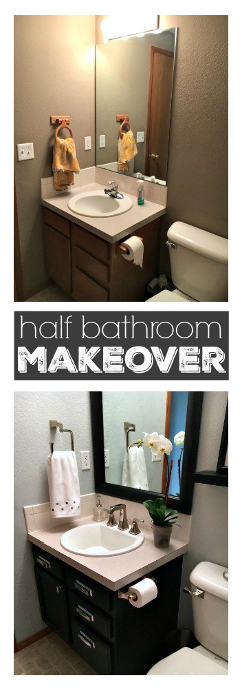 Update your bathroom in just a weekend - Find inspiration from this fabulous half bath makeover.