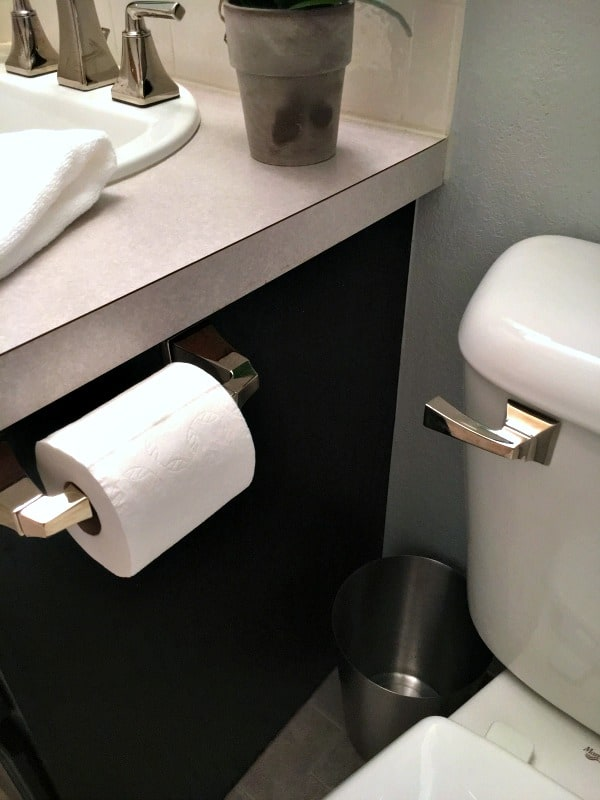 new toilet handle and paper holder for half bathroom