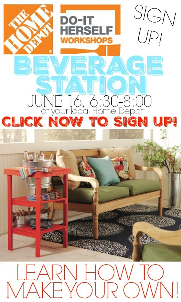 Sign up for a FREE Home Depot #DIHWorkshop and learn how to make this Beverage Stand!