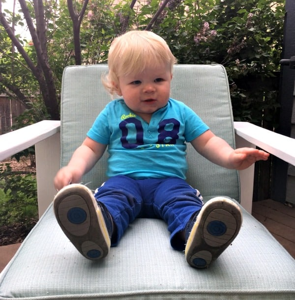 b toddlying along in big chair