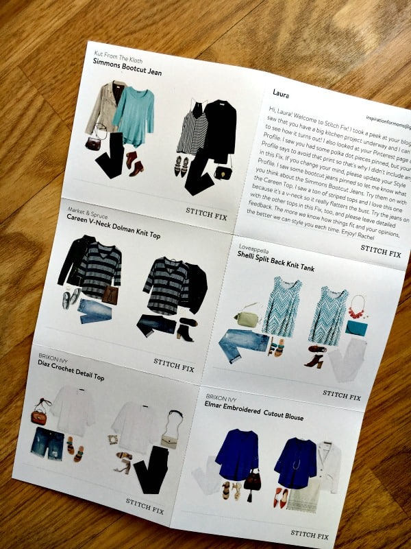 stitch fix includes a personalized card with outfit ideas