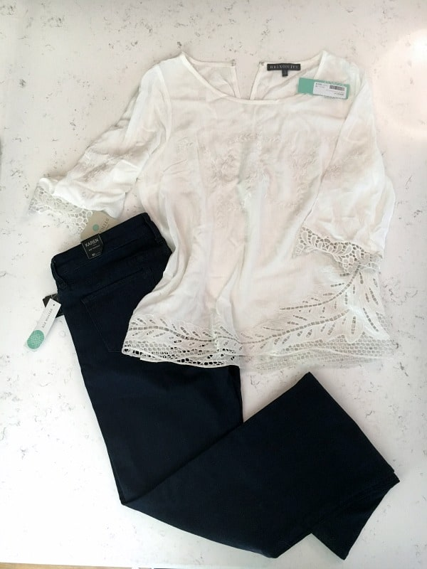 stitch fix jeans and white blouse - sent back