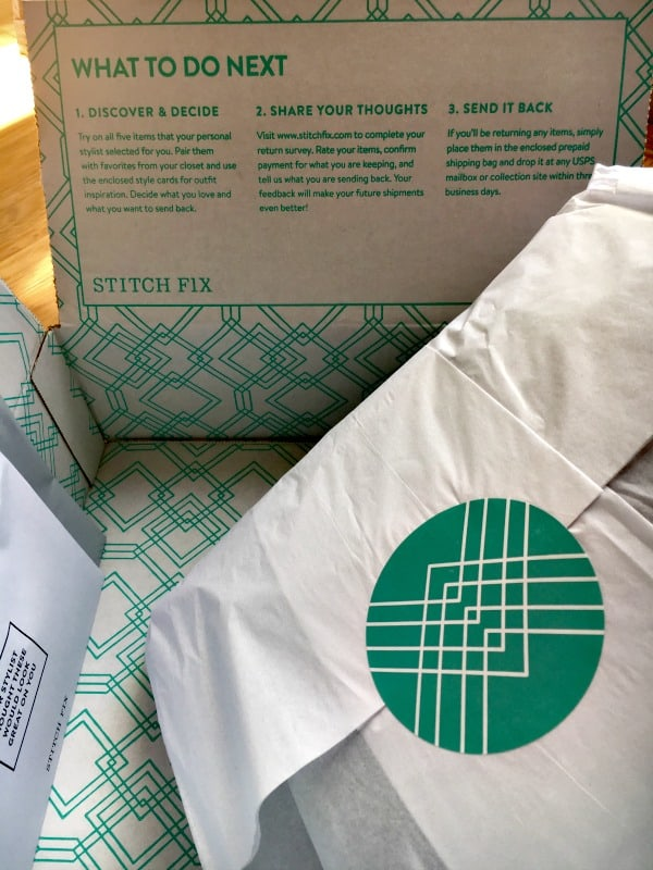stitch fix packaging with details on how to mail back