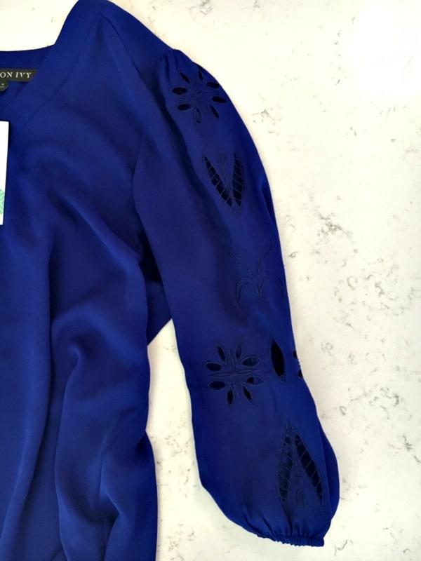 stitch fix purple shirt - sleeve detail