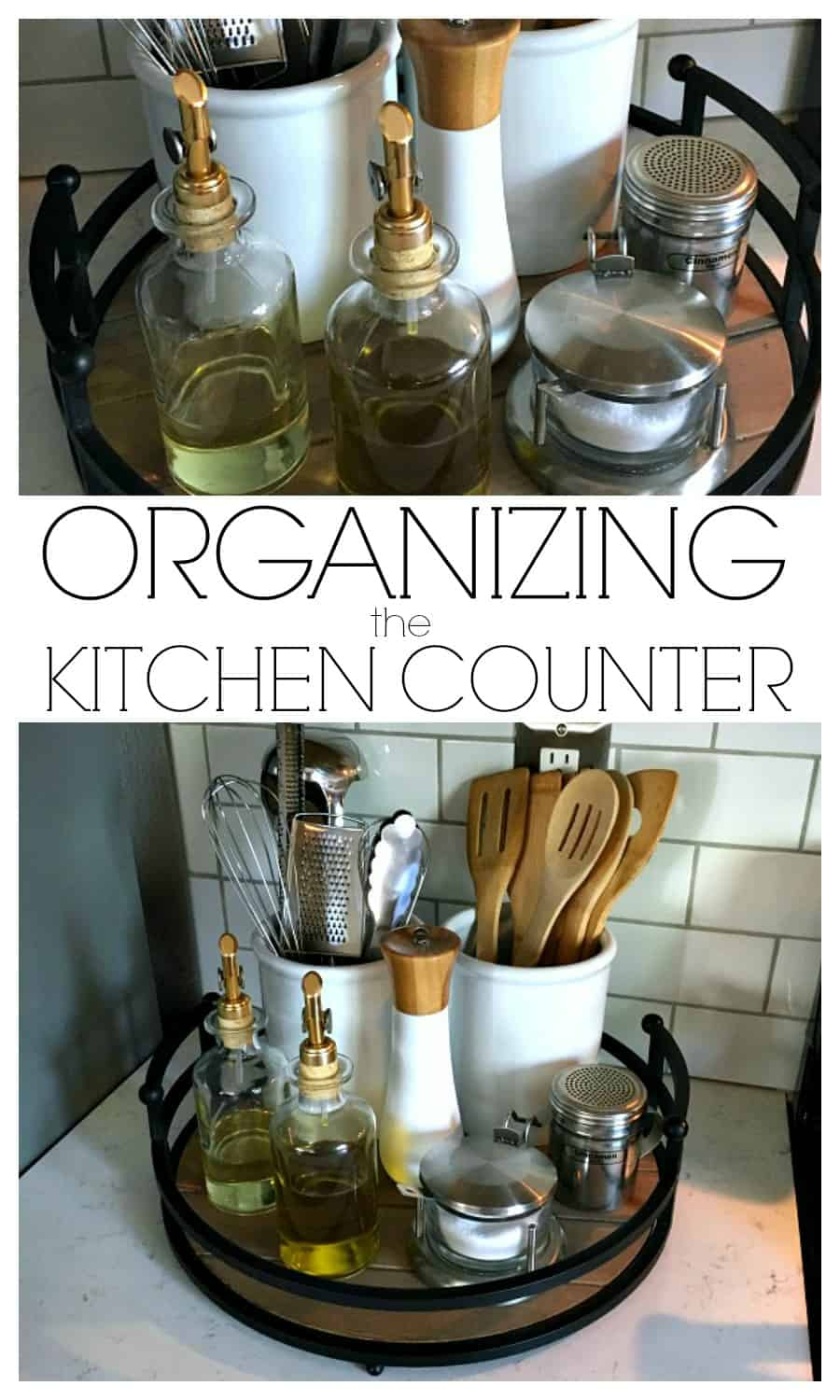Organizing the Kitchen Counter - A simple tray and a few canisters is all you need. Click here to see how!