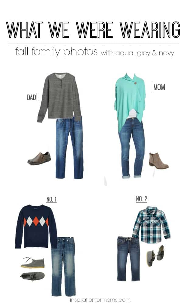 A great example of what to wear for Fall family photos when coordinating aqua, grey and navy.