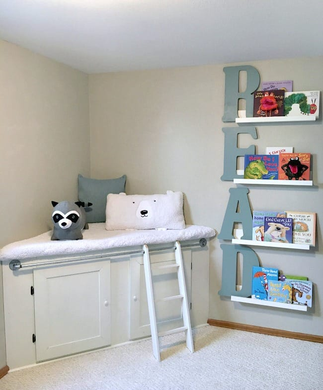 Love how this reading nook turned out. A simple ladder and a few shelves did wonders!