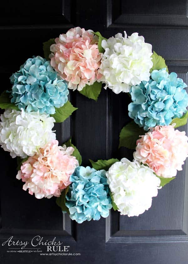 hydrangea spring wreath for your front door