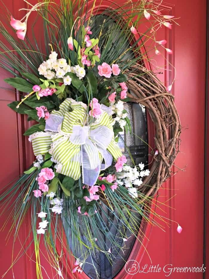 pink rose spring wreath for front door