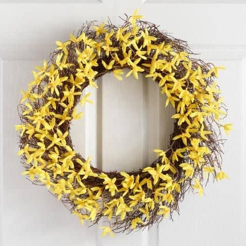 Yellow Faux Forsythia Wreath