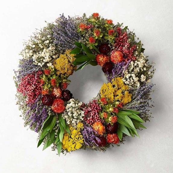 herb wreath for spring front door