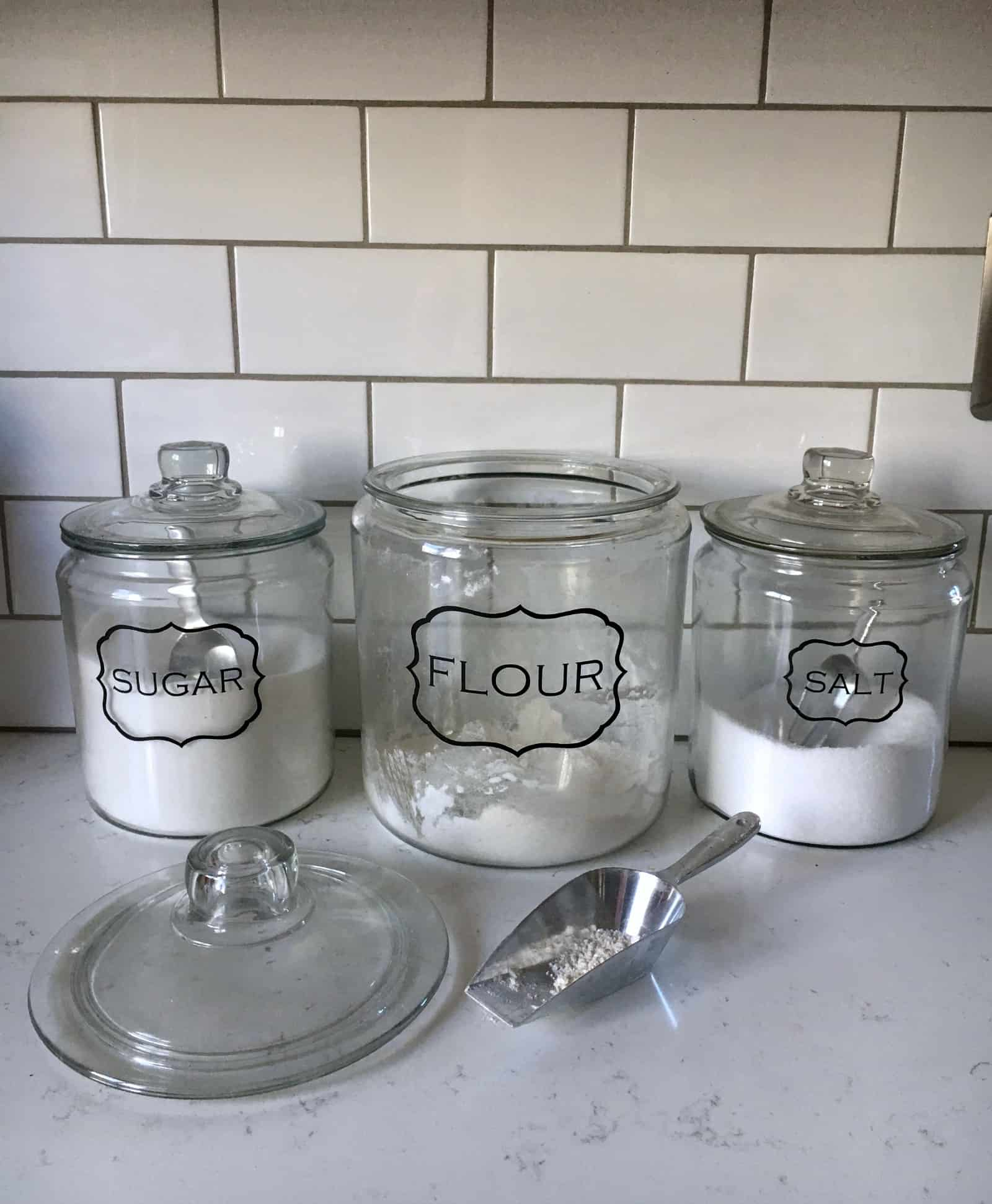organize kitchen with canisters and scoops