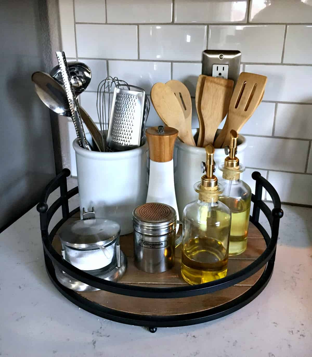 organize kitchen with counter trays