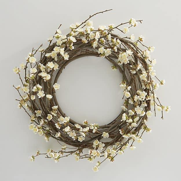 white cherry blossom wreath for spring