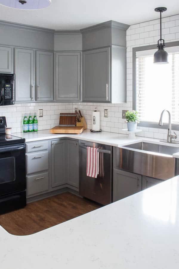 Spring Home Tour - kitchen, subway tile, farmhouse sink, spring