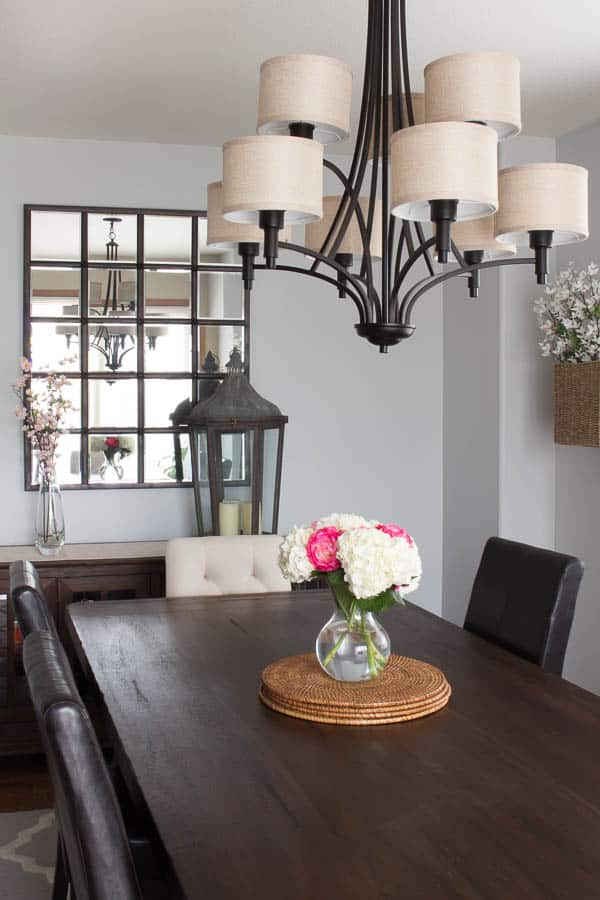 Spring Home Tour - dining room, lantern, chandelier, wall mirror