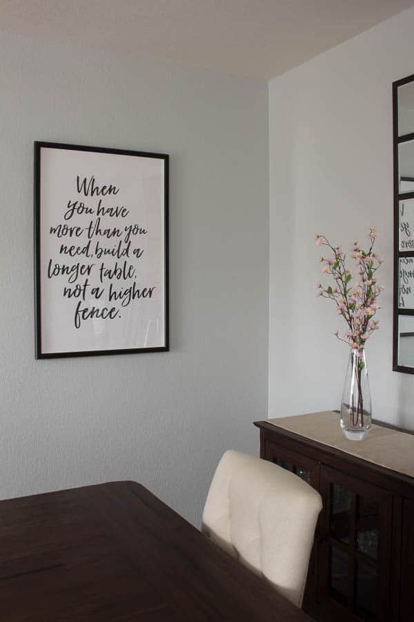 Spring Home Tour - dining room, when you have more than you need sign