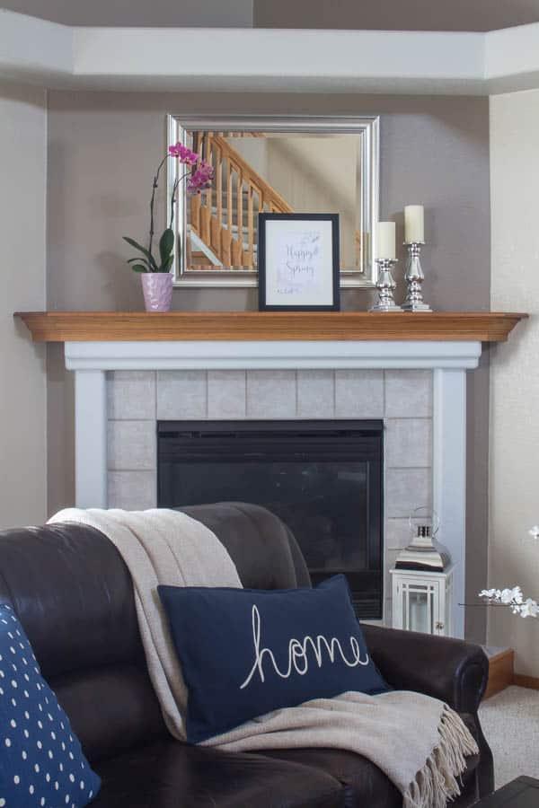 Spring Home Tour - home pillow and spring mantel decor
